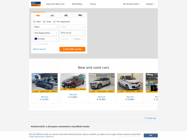 Autoscout24.com - AutoScout24 Europes car market for new